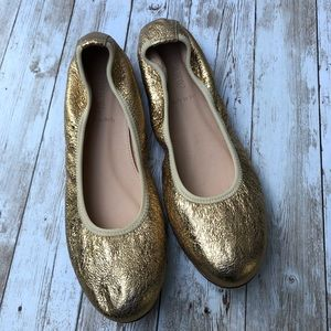 NWOT J.Crew Metallic Gold Crinkled Flats